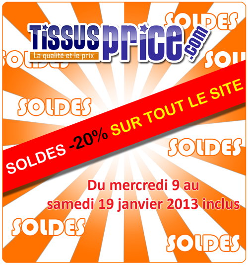 soldes hiver 2013  20% chez Tissus Price, sur tout le site !