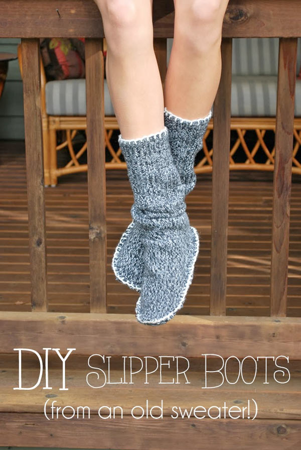 diy des chaussons chaussettes dans un pull recycler blog de petit citron blog de petit citron. Black Bedroom Furniture Sets. Home Design Ideas